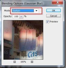 Gaussian Blend Dialog box