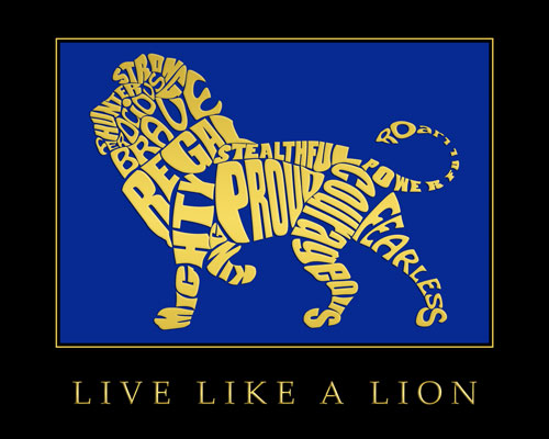 Live Like a Lion Motivational Poster